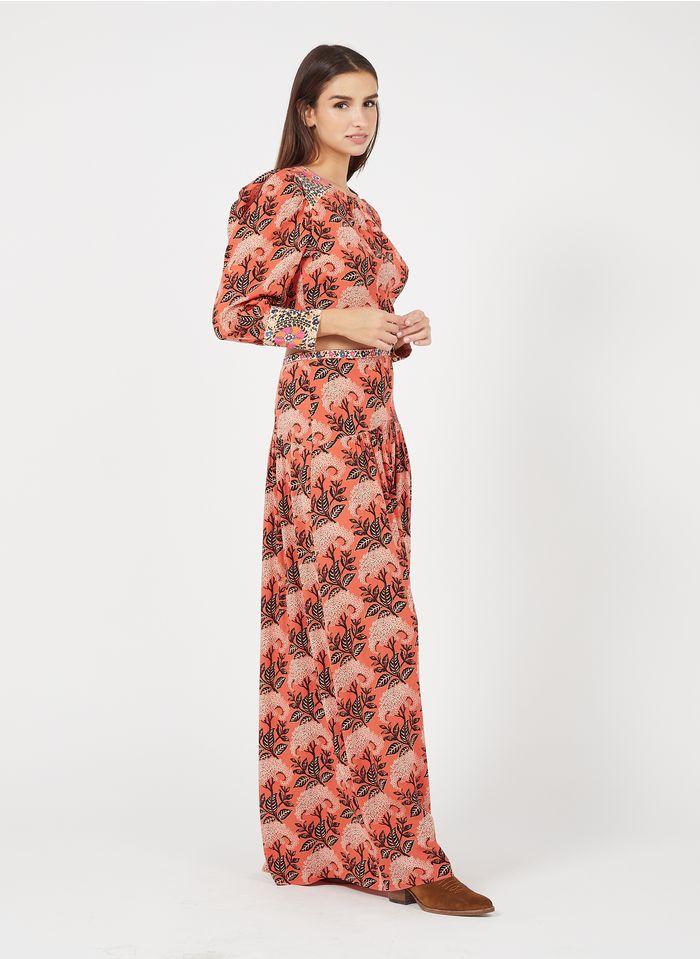 BA & SH Robe longue col rond imprimé feuillage Orange