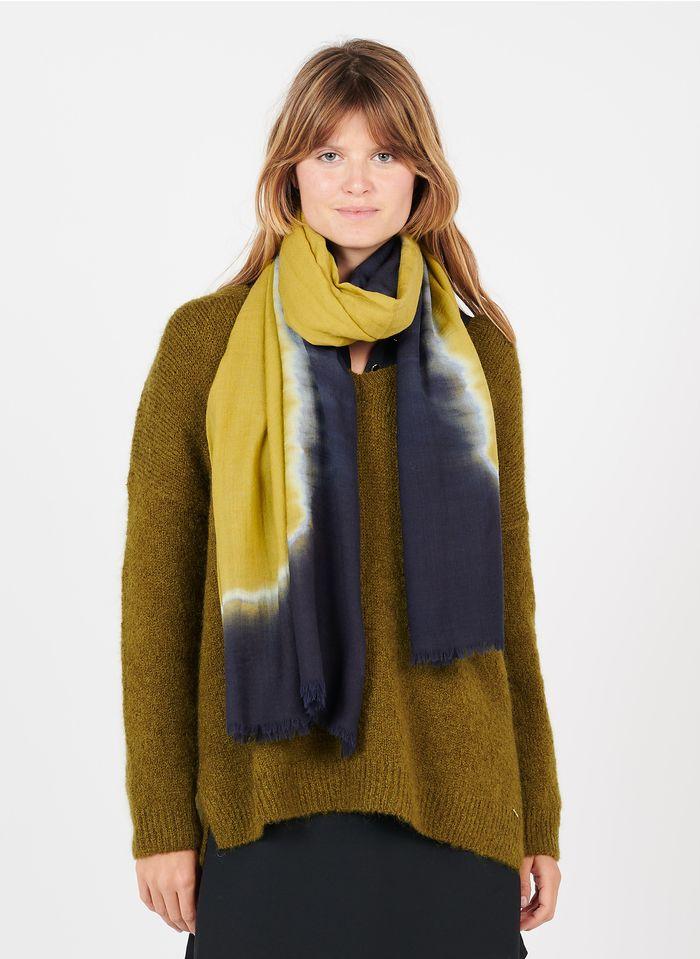 BELLA JONES Foulard imprimé tie and dye en laine Bleu