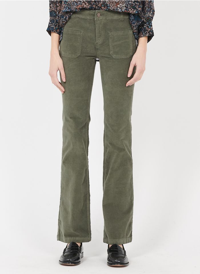 BEST MOUNTAIN Pantalon slim en velours côtelé  Kaki