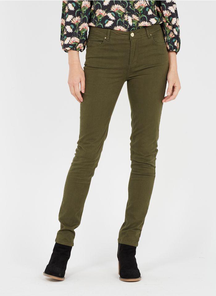 BEST MOUNTAIN Pantalon slim taille haute en coton mélangé Kaki