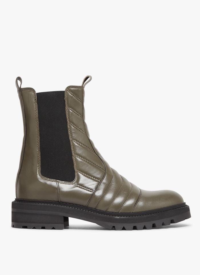 BILLI BI Chelsea boots en cuir matelassé Kaki