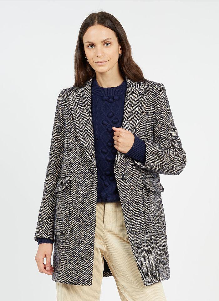 CAROLL Manteau col tailleur à chevrons en laine mélangée  Bleu