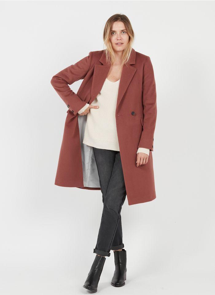 CAROLL Manteau long col tailleur en laine vierge mélangée  Rose
