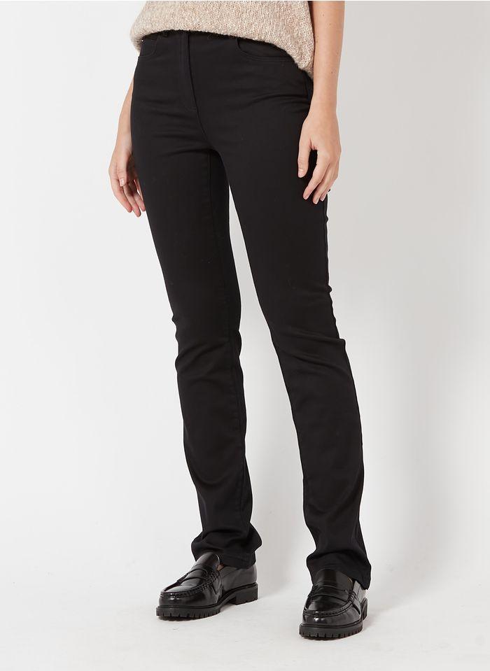 CAROLL Pantalon droit 5 poches en coton mélangé Noir