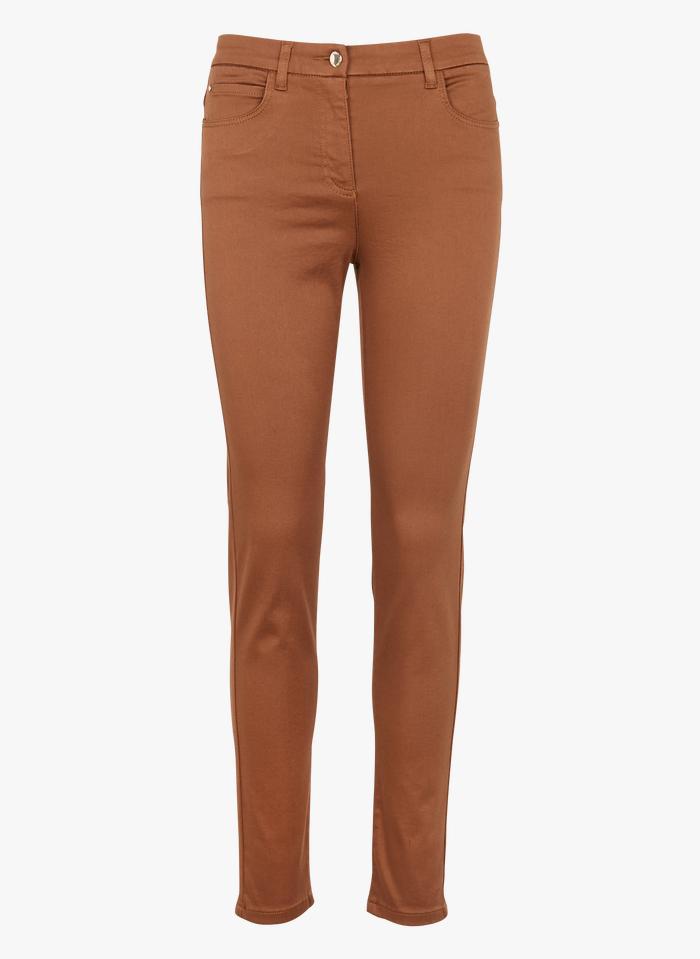 CAROLL Pantalon slim 5 poches en coton stretch Marron