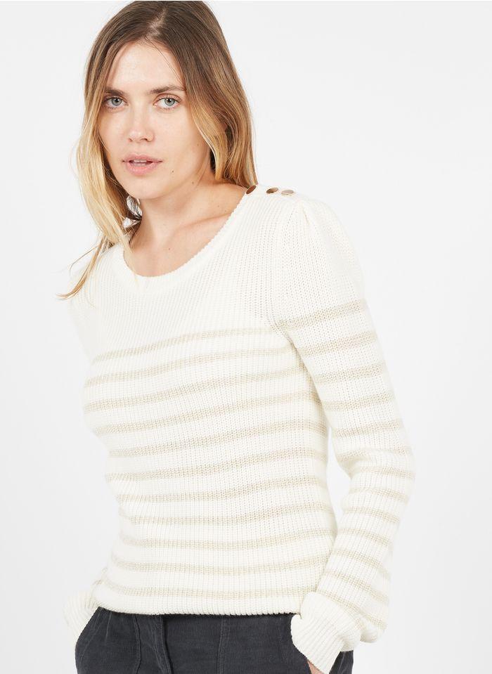 CAROLL Pull col rond rayé en laine mélangée Blanc