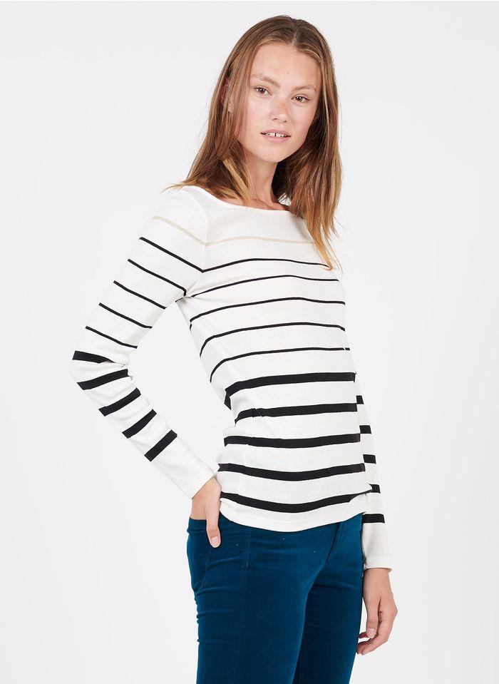 CAROLL Tee-shirt col bateau rayé en coton bio mélangé Blanc