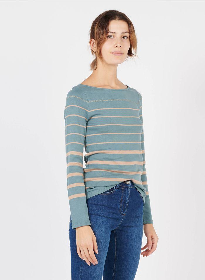 CAROLL Tee-shirt col bateau rayé en coton bio mélangé Bleu
