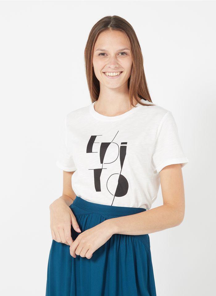 CAROLL Tee-shirt col rond imprimé en coton mélangé  Bleu