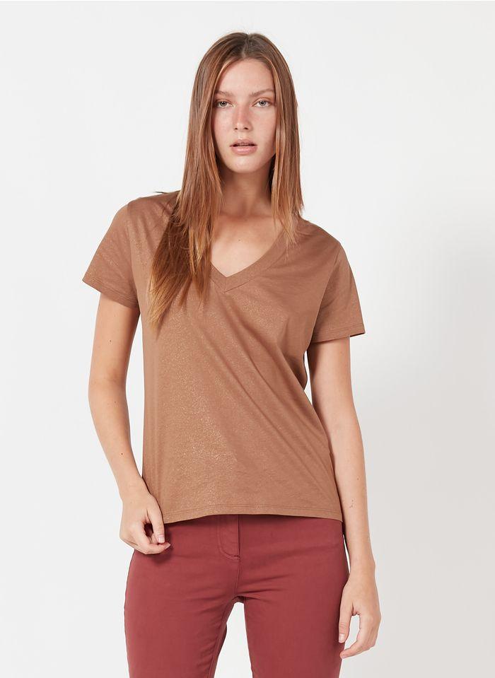 CAROLL Tee-shirt col V irisé en coton Marron