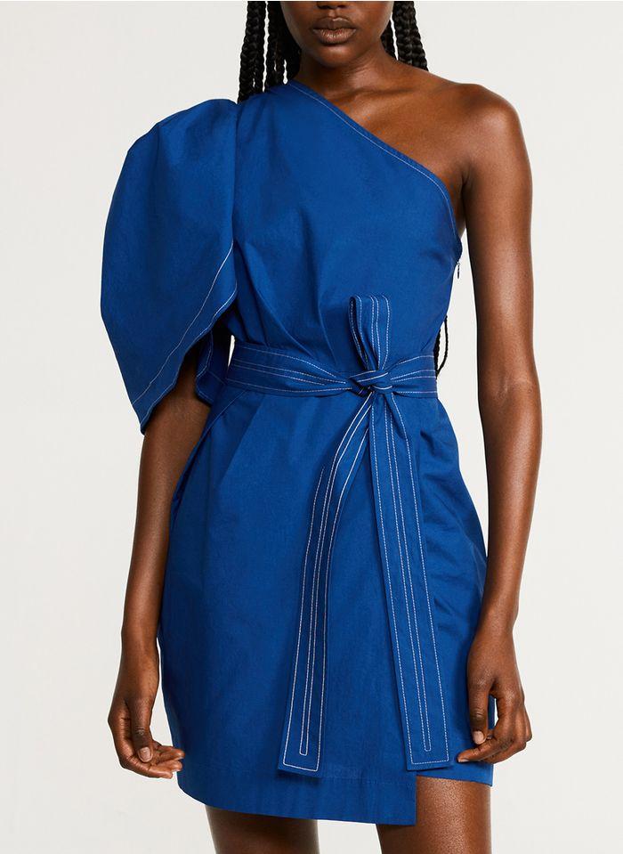 CLAUDIE PIERLOT Robe courte asymétrique en coton Bleu