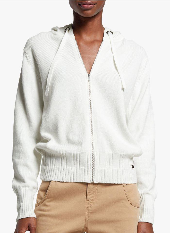 COP.COPINE Gilet zippé à capuche en coton Blanc