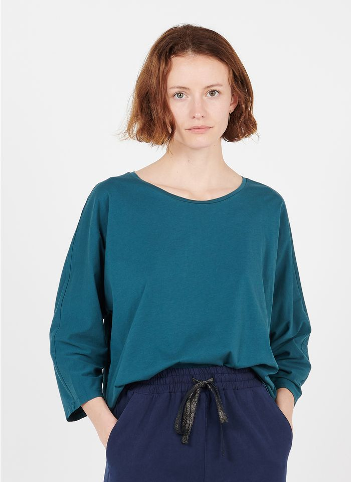 DES PETITS HAUTS Tee-shirt ample col rond en coton Bleu