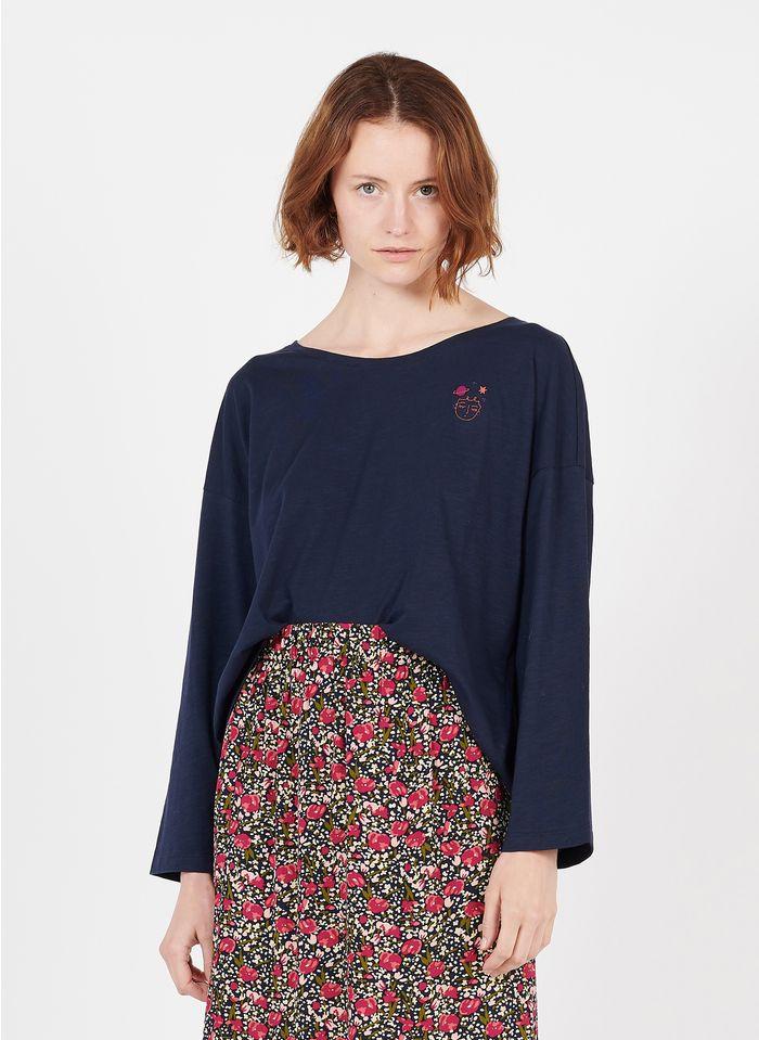 DES PETITS HAUTS Tee-shirt col rond brodé en coton Bleu
