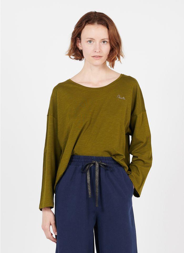 DES PETITS HAUTS Tee-shirt col rond brodé en coton Vert