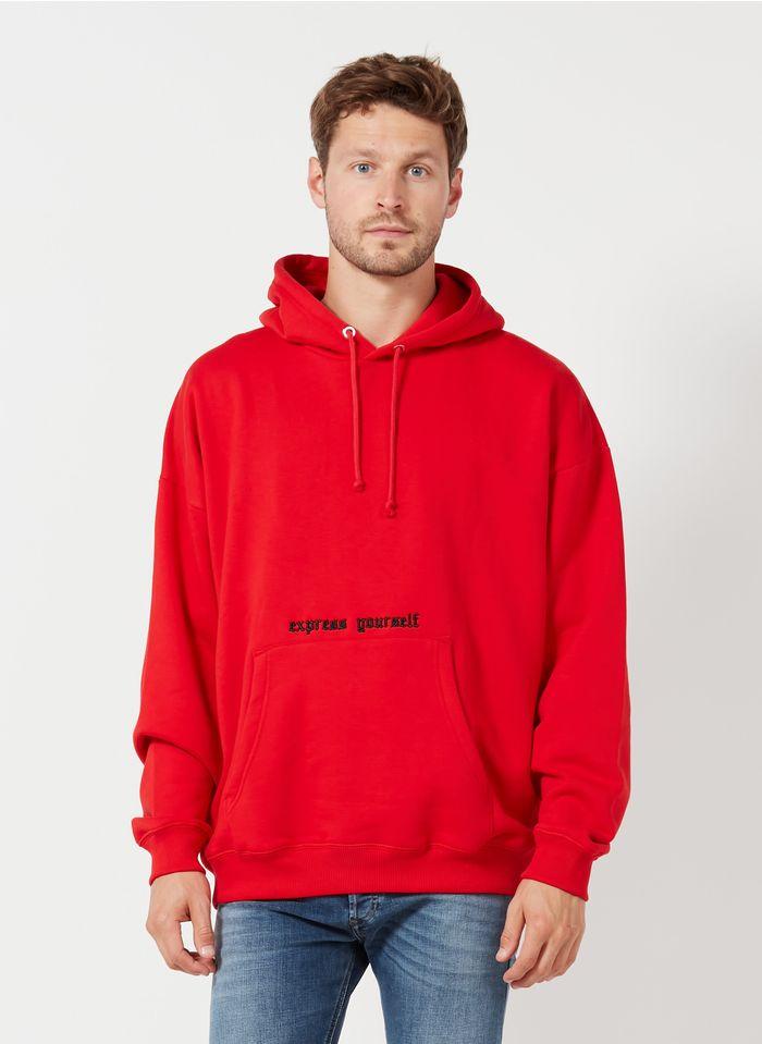 DIESEL Sweat à capuche avec broderie Express yourself en coton mélangé Rouge