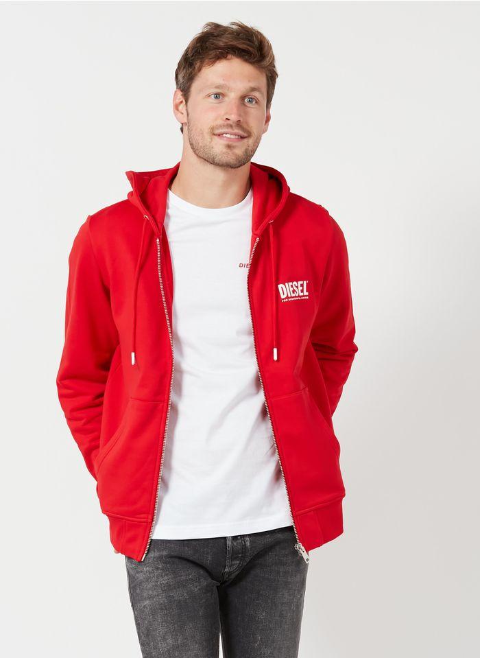 DIESEL Sweat à capuche en coton Rouge