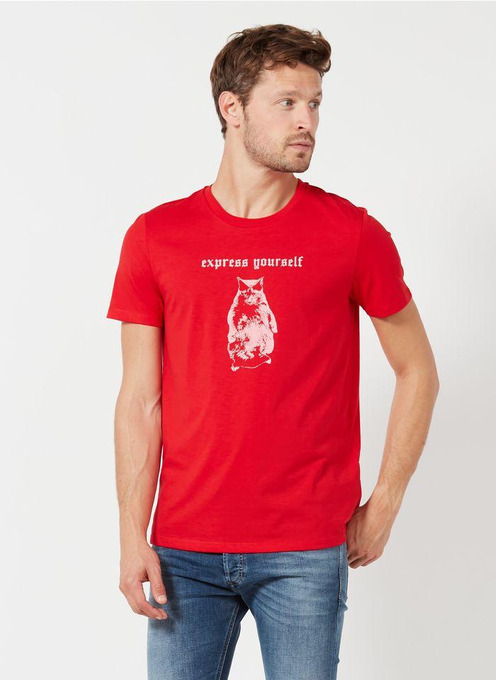 DIESEL Tee-shirt col rond regular-fit avec graphisme en coton mélangé  Rouge