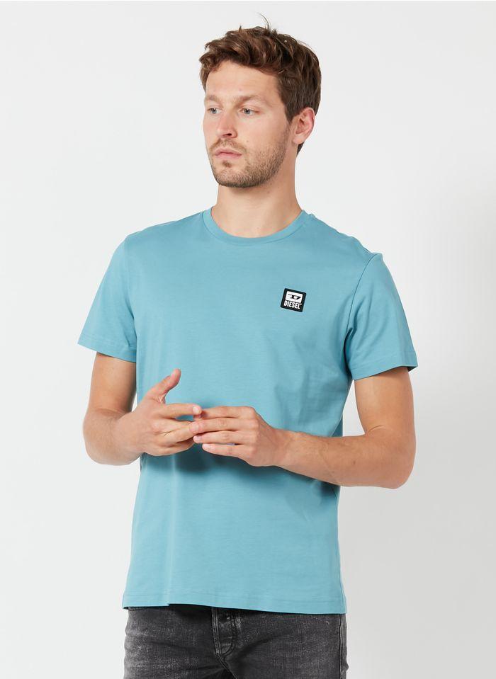 DIESEL Tee-shirt col rond regular-fit en coton Bleu