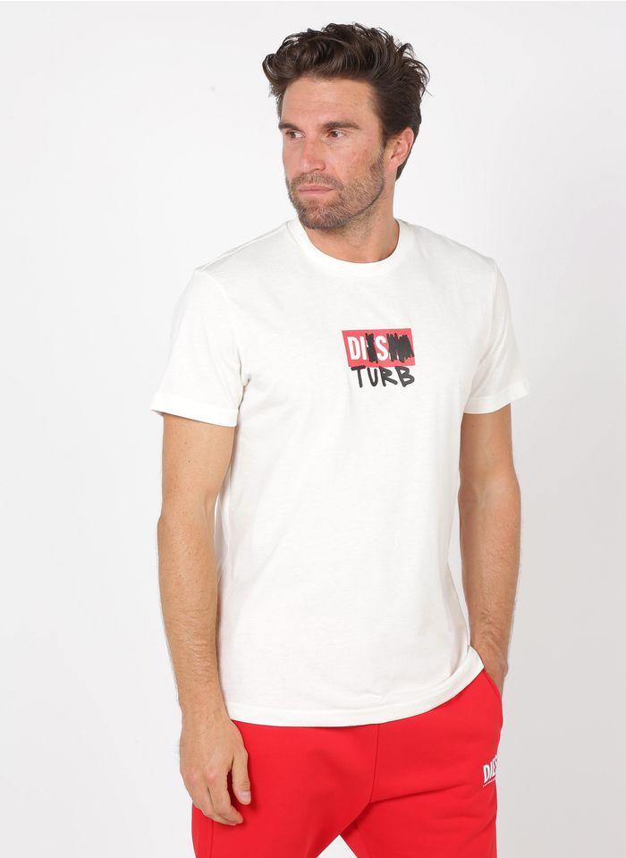 DIESEL Tee-shirt col rond regular-fit en coton mélangé Blanc