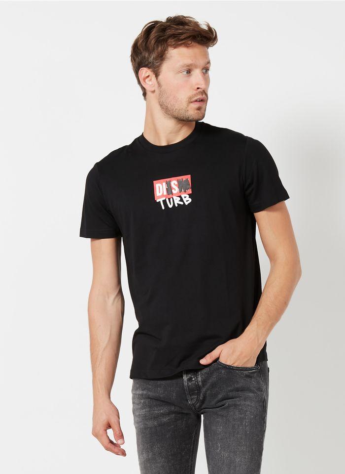 DIESEL Tee-shirt col rond regular-fit en coton mélangé Noir