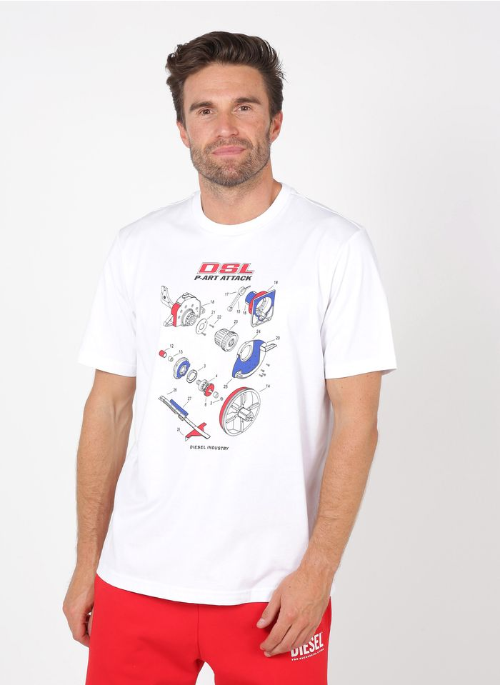 DIESEL Tee-shirt col rond regular-fit sérigraphié en coton Blanc