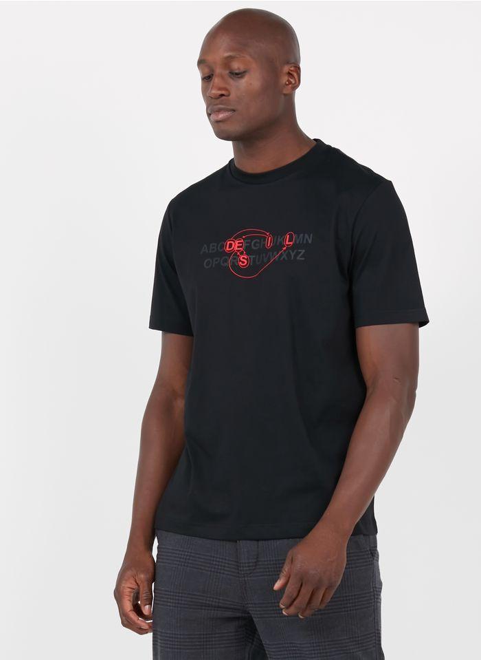 DIESEL Tee-shirt col rond regular-fit sérigraphié en coton Noir