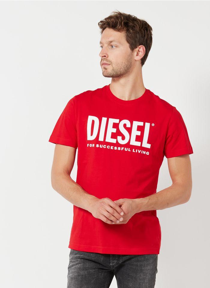 DIESEL Tee-shirt col rond regular-fit sérigraphié en coton Rouge