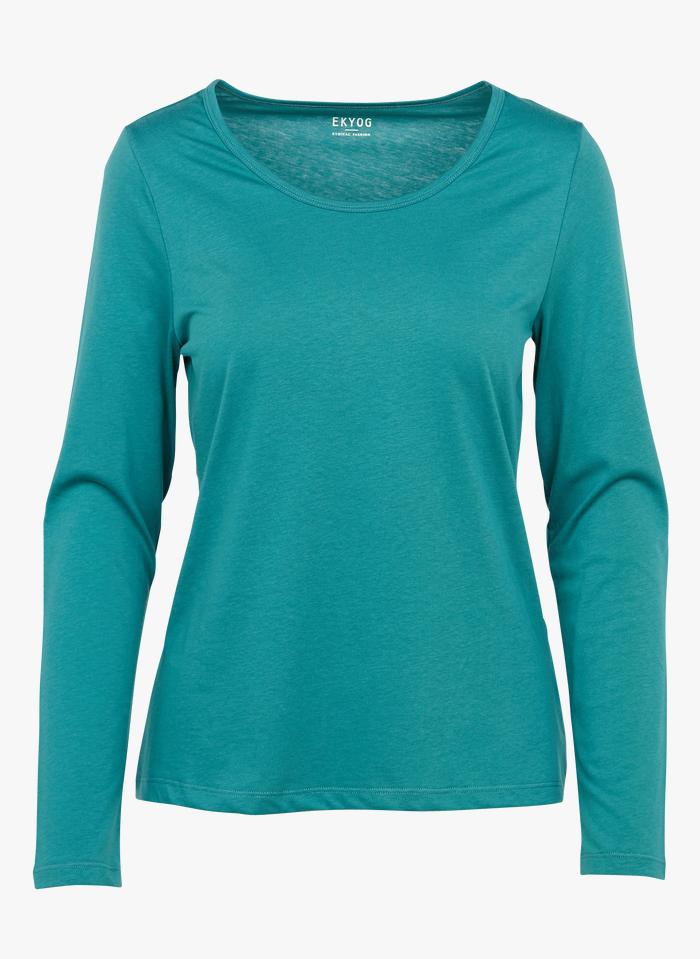 EKYOG Tee-shirt col rond en coton Vert