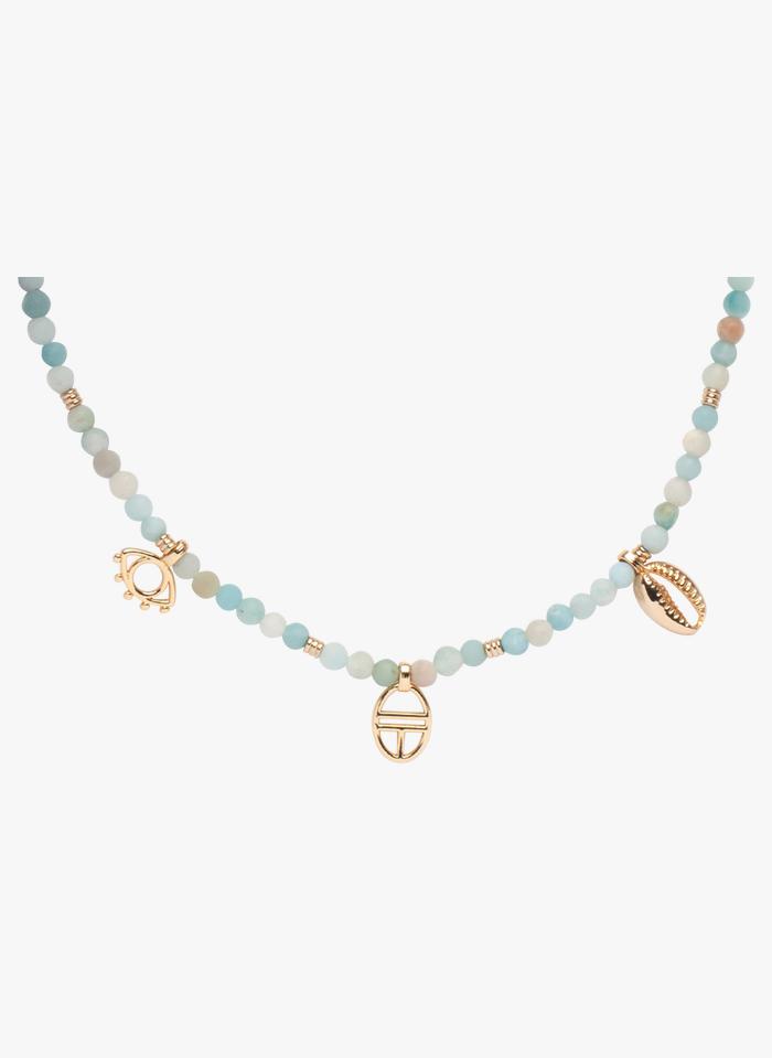 EMMA & CHLOE Collier perles rondes pierre multi pampilles Doré