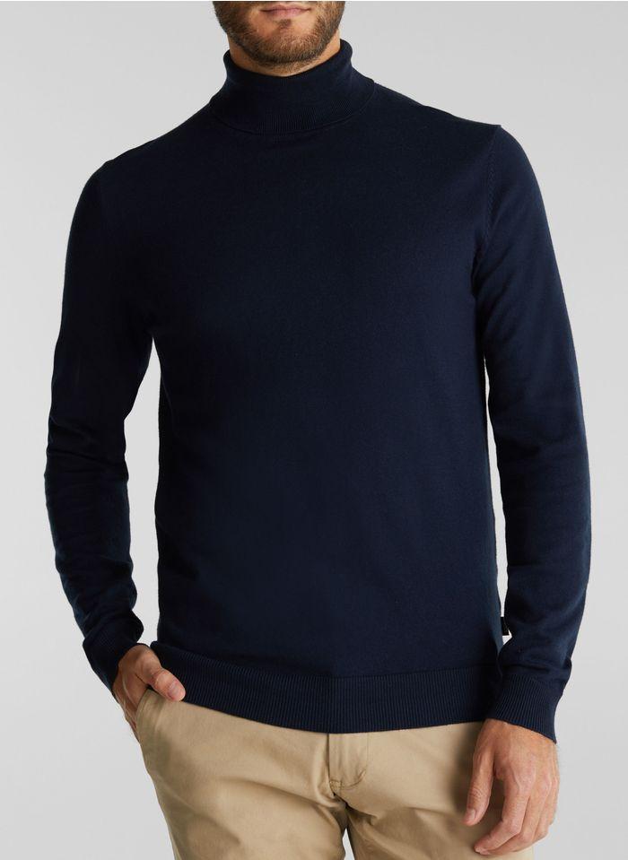 ESPRIT Col roulé regular-fit en coton et cachemire Bleu