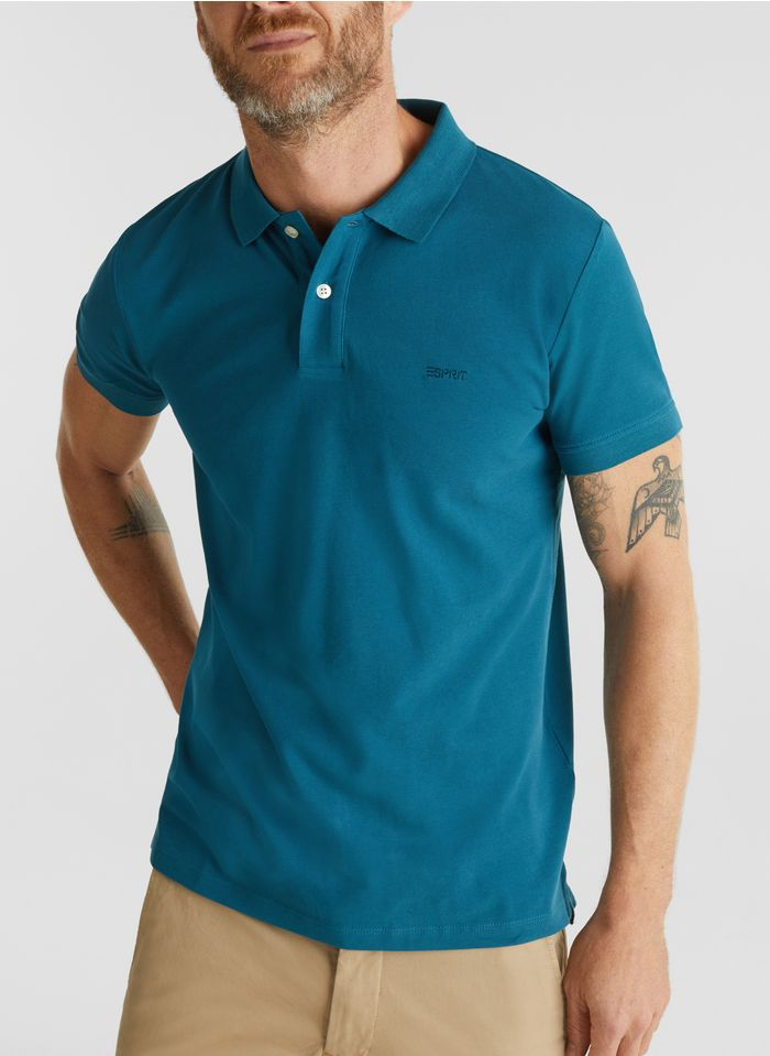 ESPRIT Polo regular-fit en coton Bleu