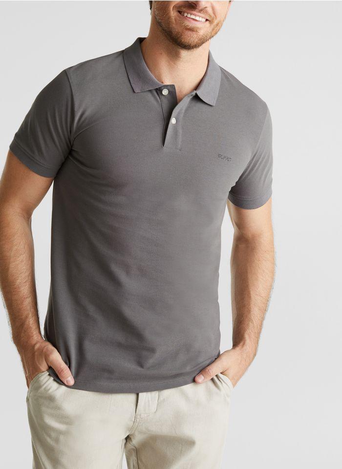 ESPRIT Polo regular-fit en coton Gris