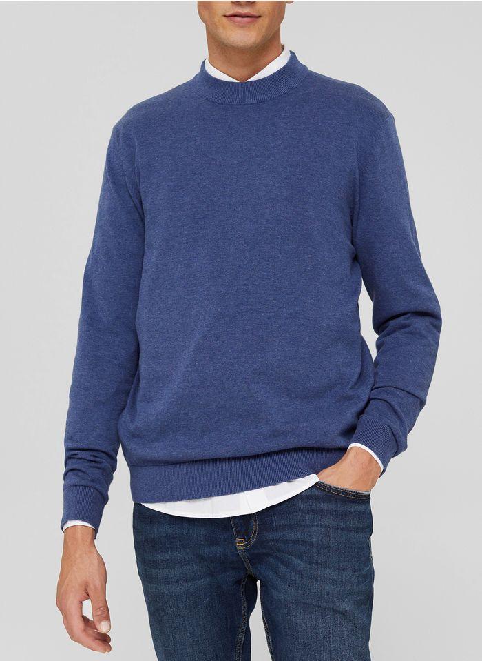 ESPRIT Pull col montant regular-fit en coton bio Bleu