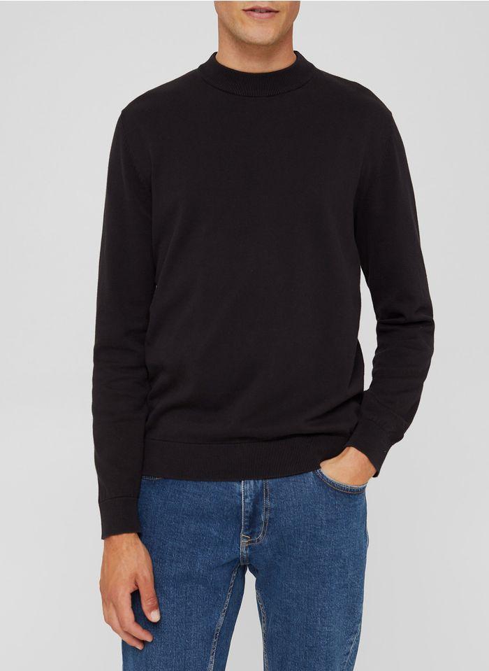 ESPRIT Pull col montant regular-fit en coton bio Noir