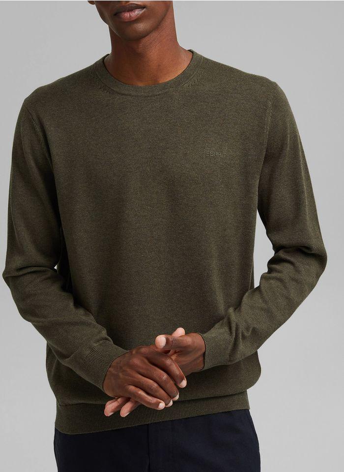 ESPRIT Pull col rond regular-fit en coton bio Kaki