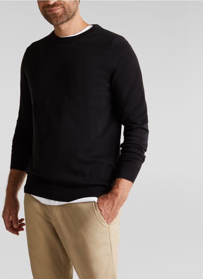 ESPRIT Pull col rond regular-fit en coton bio Noir