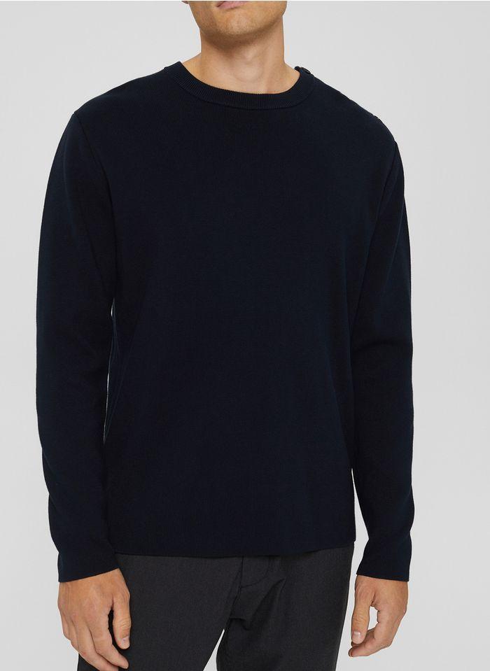 ESPRIT Pull col rond regular-fit en coton Bleu