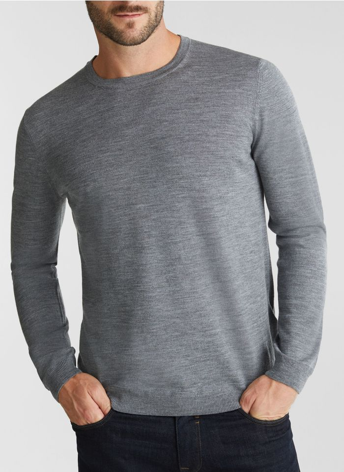 ESPRIT Pull col rond regular-fit en laine Gris