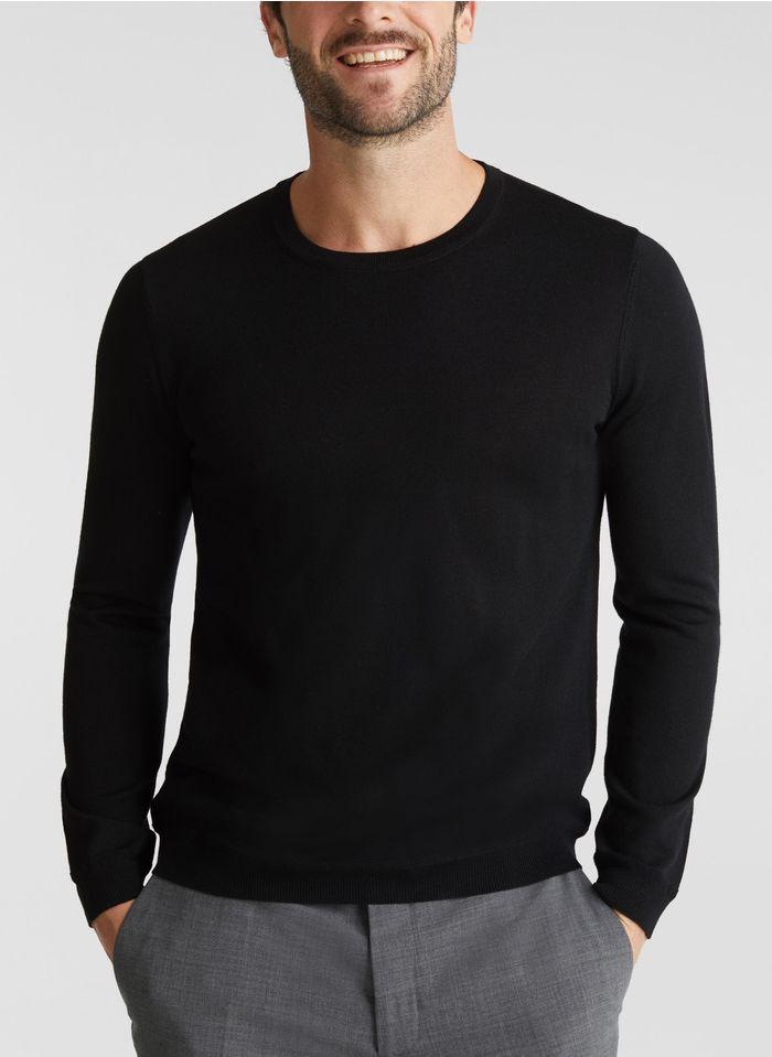 ESPRIT Pull col rond regular-fit en laine Noir