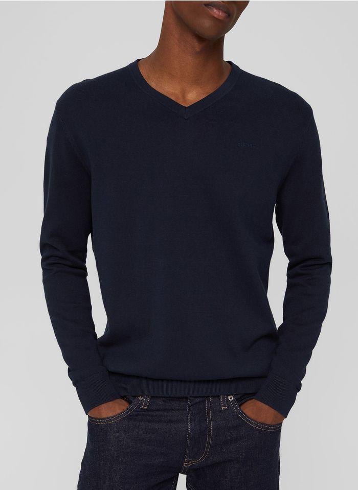 ESPRIT Pull col V en coton Bleu