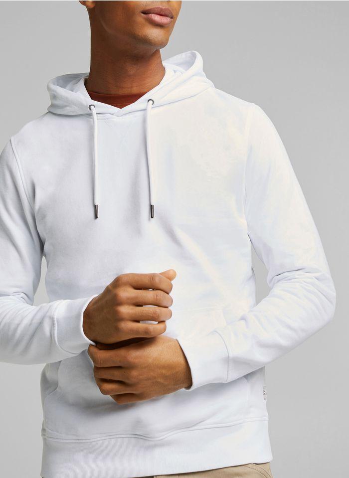 ESPRIT Sweat col rond regular fit à capuche en coton Blanc
