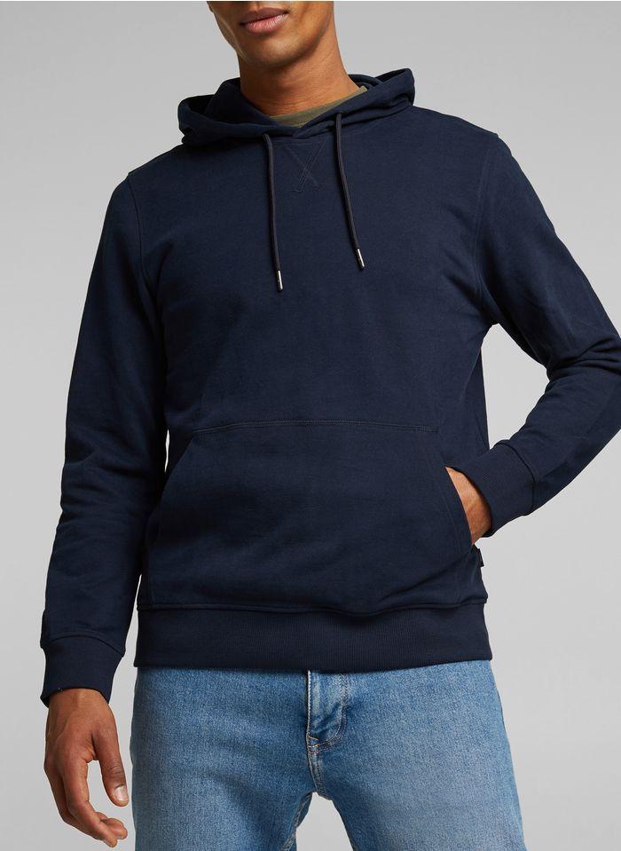 ESPRIT Sweat col rond regular fit à capuche en coton Bleu