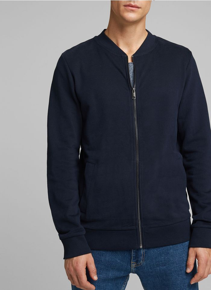 ESPRIT Sweat col teddy regular-fit zippé en coton Bleu