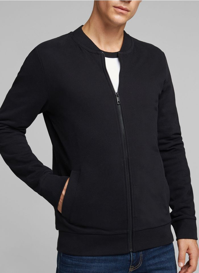 ESPRIT Sweat col teddy regular-fit zippé en coton Noir