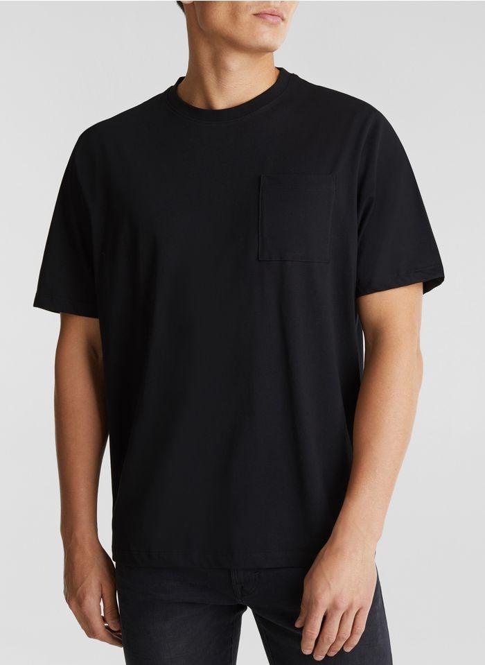 ESPRIT Tee-shirt col ample en coton Noir