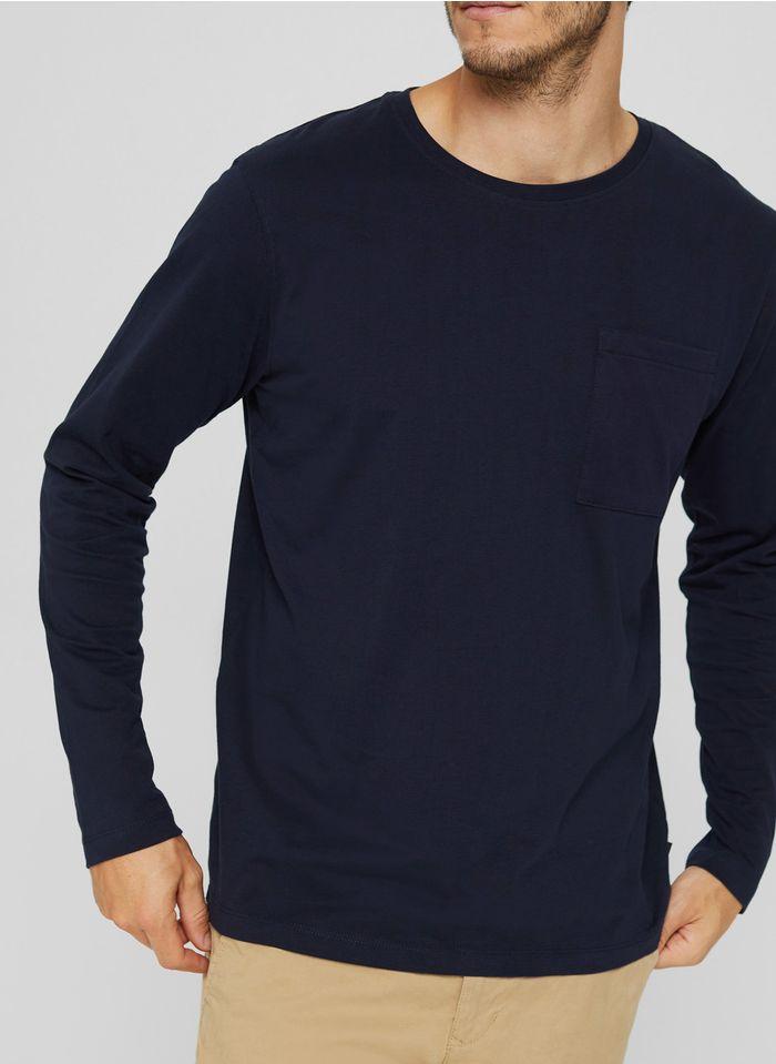 ESPRIT Tee-shirt col rond en coton bio Bleu