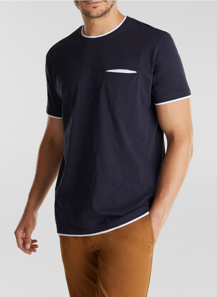 ESPRIT Tee-shirt col rond en coton organique  Bleu