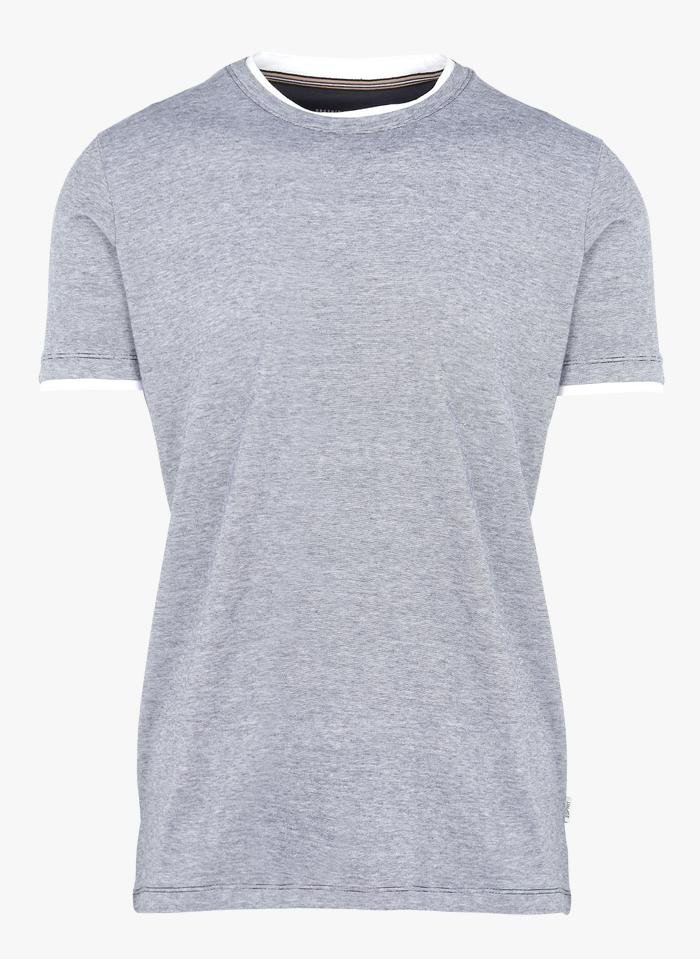 ESPRIT Tee-shirt col rond regular-fit à rayures en coton bio Bleu