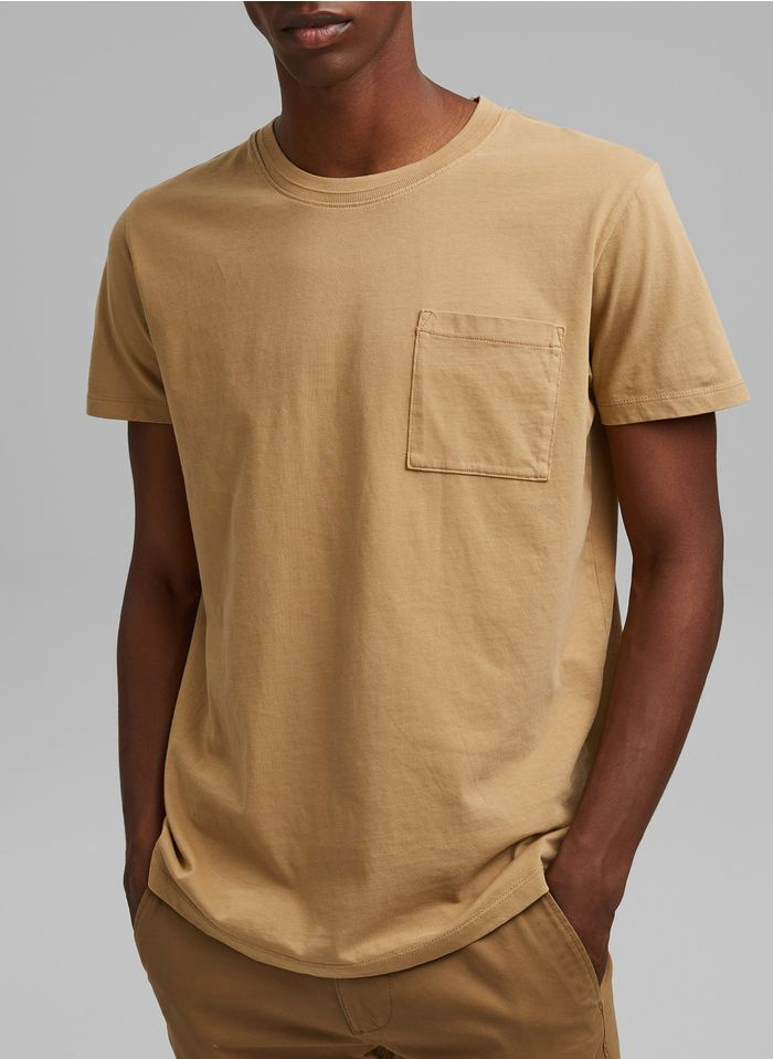 ESPRIT Tee-shirt col rond regular fit en coton Beige